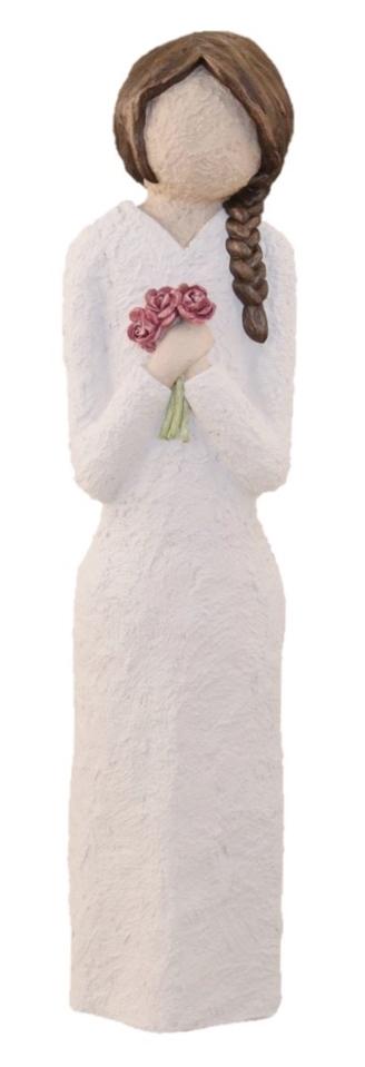 Damefigur Med Roser Og Flette – Brunt Hår, 33 cm