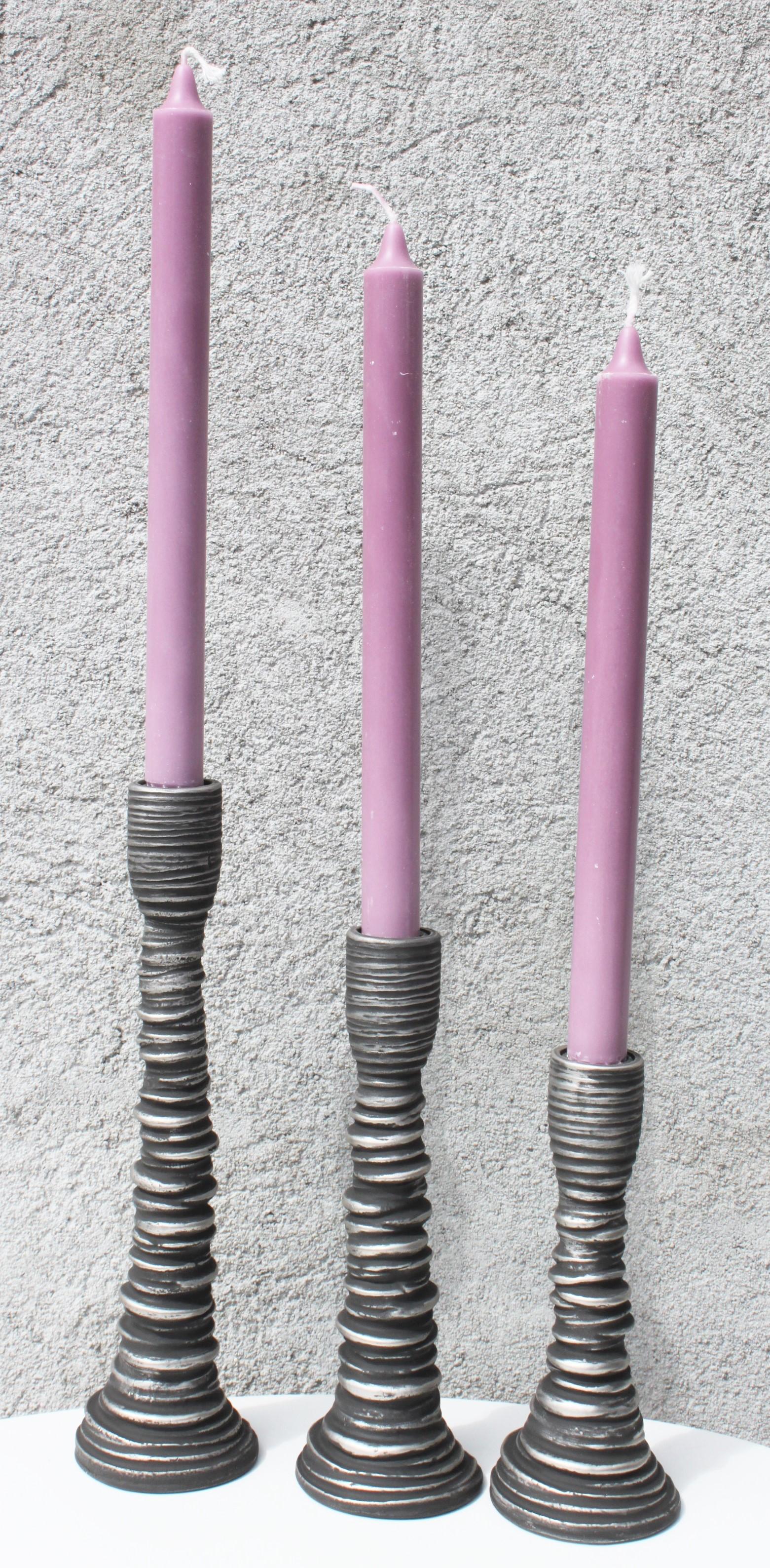 Flott Sett med 3 lysestaker, Krum - farge sort og sølv - Lillesand Design AS UN-24